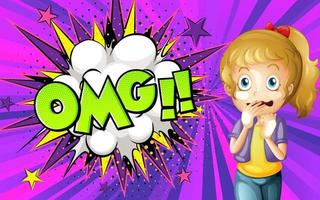OMG word on explosion background with girl cartoon character vector