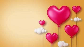Pink Heart-Shaped Balloons with Clouds