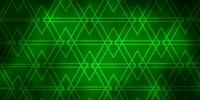 textura de vector verde oscuro con líneas, triángulos.