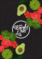 marco circular del día mundial de la alimentación con verduras en fondo negro vector