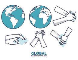 letras del día mundial del lavado de manos con lavado de manos y planetas terrestres
