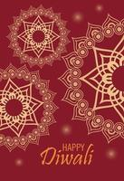 happy diwali celebration with golden mandalas in red background vector