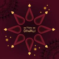 happy diwali celebration with candles around lettering vector