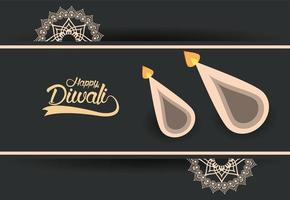 happy diwali celebration with two candles and golden mandalas vector