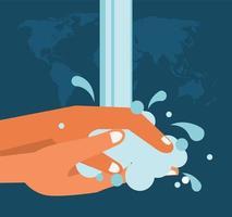 letras del día mundial del lavado de manos con lavado de manos y mapas de la tierra