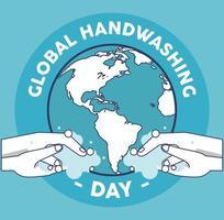 letras del día mundial del lavado de manos con lavado de manos y planeta tierra