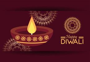 happy diwali celebration with candle and mandalas vector