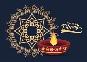 happy diwali celebration with candle and golden mandala vector