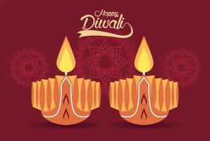 happy diwali celebration with two candles and mandalas vector