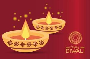 happy diwali celebration with two candles vector
