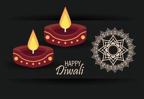 happy diwali celebration with two candles and mandala vector