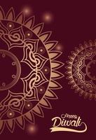 happy diwali celebration with golden mandalas vector