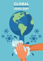 letras del día mundial del lavado de manos con lavado de manos y partículas covid19