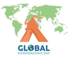 global handwashing day lettering with hands washing and earth maps vector