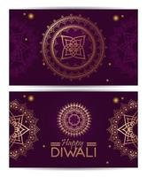happy diwali celebration with golden mandalas and lettering vector