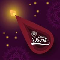 happy diwali celebration with candle vector