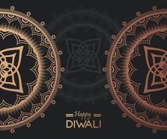happy diwali celebration with golden mandalas in green background vector
