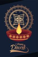 happy diwali celebration with candle and mandala vector