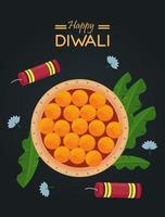happy diwali celebration with food and firework rockets vector