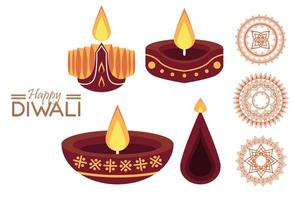 happy diwali celebration with three candles vector