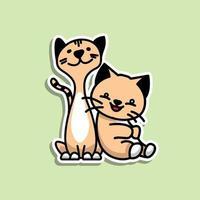 Cute Animal Cats sticker design vector