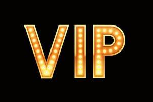 banner vip, texto de estilo retro con luces brillantes
