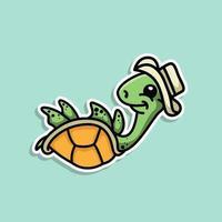 Cute Animal Turtle sticker design vector