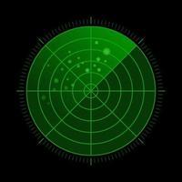 radar verde hud con objetivos en acción vector