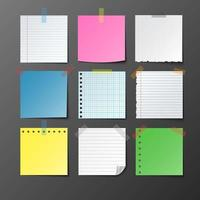 Post note paper set on gray background vector