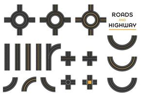 Roads and highway different intersection set of pieces set vector