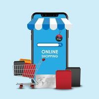 Online shopping concept, smartphone online store vector
