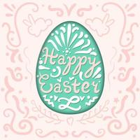 Vintage Happy Easter lettering in egg with rabbits vector