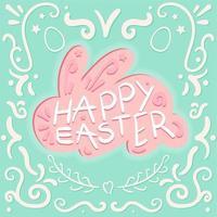 vintage feliz pascua letras en conejo vector