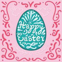 Vintage Happy Easter lettering in egg with rabbits. Vector