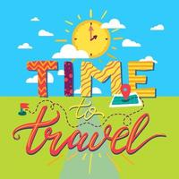 Time To Travel Lettering vector