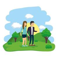 pareja haciendo actividades al aire libre