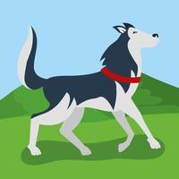 lindo perro caminando en el parque vector