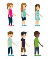 set of kid characters on white background vector