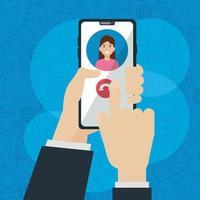 social network media flat design with smartphone vector