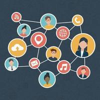 social network media flat design vector