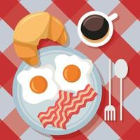 Cute breakfast table top view vector