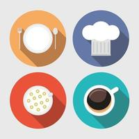 Kitchen and restaurant long shadow icon set vector