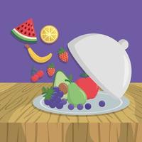 Plate with fresh fruits vector