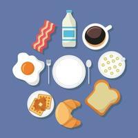 linda vista superior de la mesa de desayuno vector