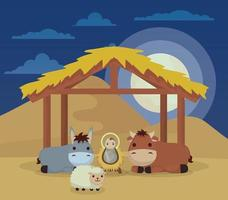 Epiphany of Jesus with animals in a manger vector