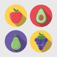 Long shadow fruit icon set vector
