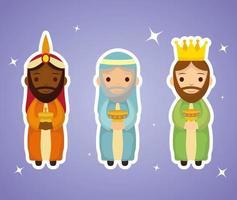 epifanía de jesús con magos trayendo regalos vector