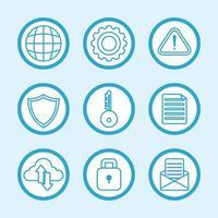 conjunto de iconos de seguridad informática e internet