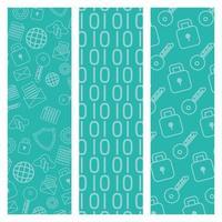 technology internet security pattern background set vector