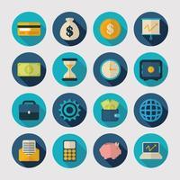 Money and finances icon set vector